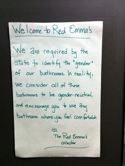 Red Emmas gender neutral br sign