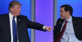 Donald Trump pointing at Marco Rubio soshable com