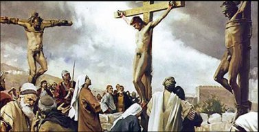 Naked Jesus and thieves on the cross