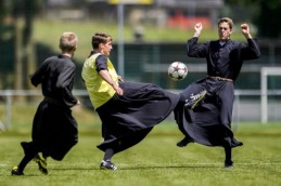 soccer in cassocks