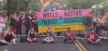 Wells Fargo equals genocide protest at Capital Pride 2017